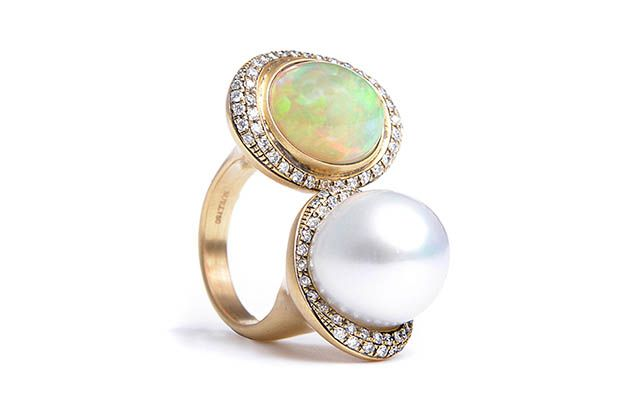 Suel's one-of-a-kind double ring boasts an Ethiopian opal, an Australian South Sea pearl and diamonds. It retails for $12,790.