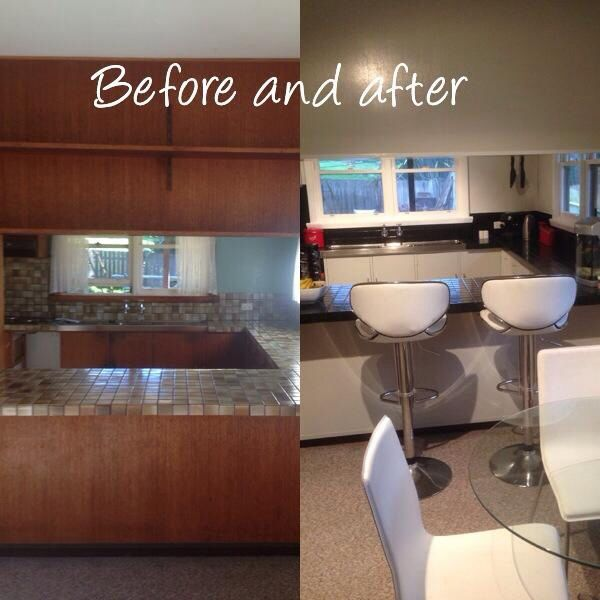 Kitchen before and after.  Just using paint and modern touches :)