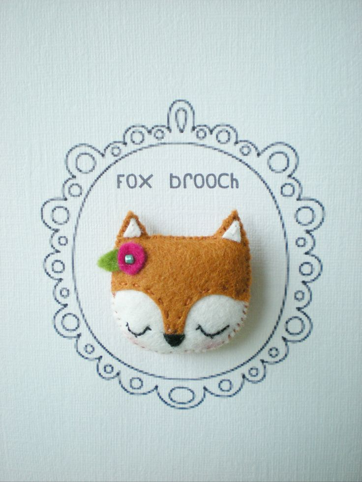 Fox Brooch/Pin by littlehappystitches on Etsy. $10.00 USD, via Etsy…