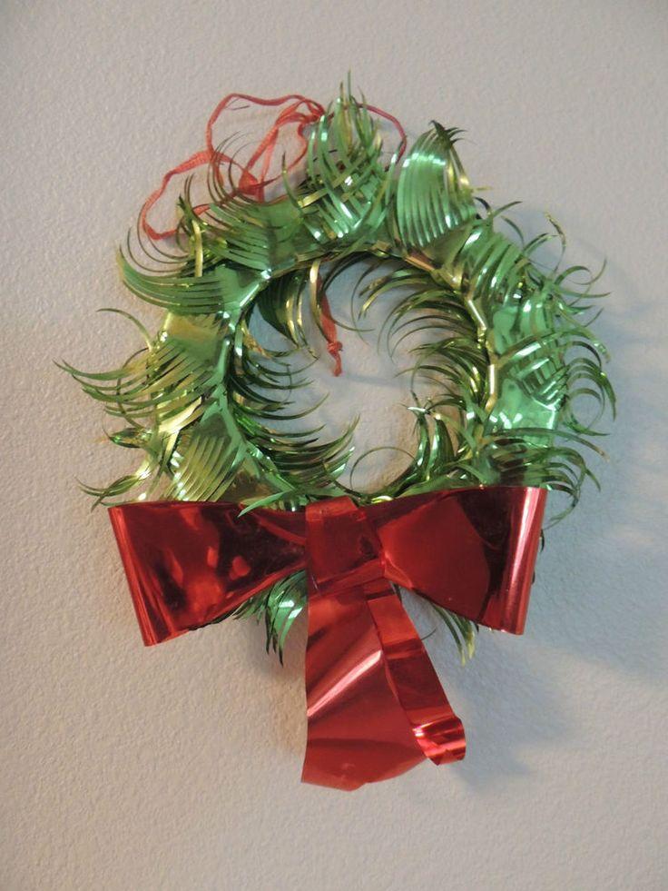 Vintage Green Foil Christmas Wreath with Foil