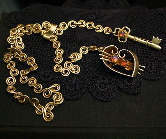 Taxco Mexican Lariat Necklace Double Chatelaine Brooch Gold Vermeil Sterling Silver Dragons Breath Opal Victorian Art Deco 1920s isj 2
