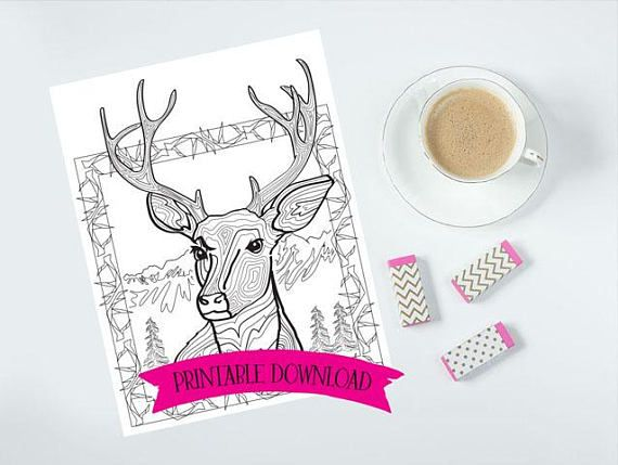 Coloring Page - North American Deer in the Mountains - Antlers // INSTANT DOWNLOAD // Manifestation and Meditation Colouring Page