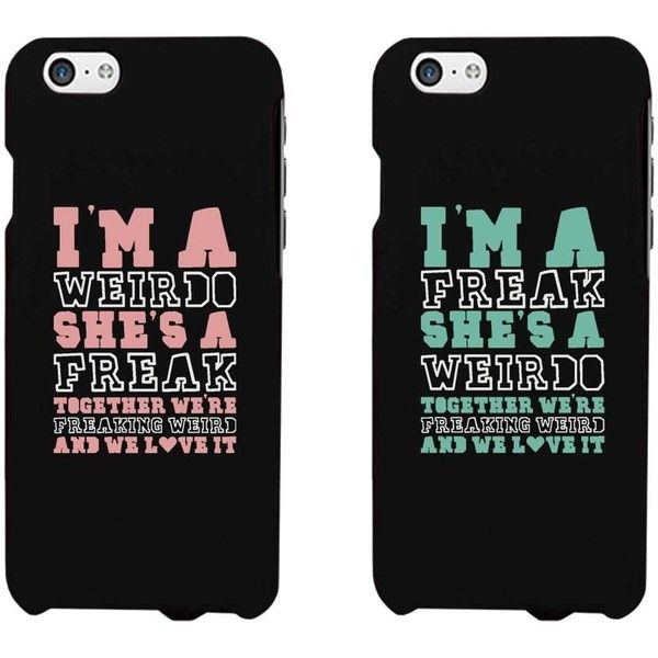 365 Printing Weirdo and Freak Black Matching Best Friends Phone Cases... ($20) ❤ liked on Polyvore featuring accessories, tech accessories, phone and phone cases