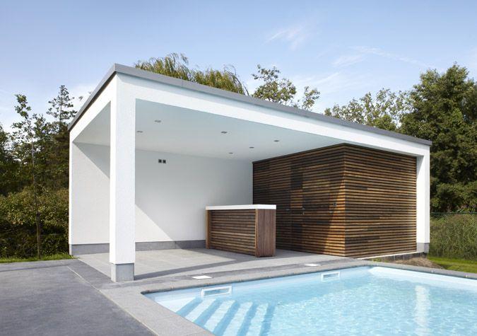 Strakke moderne overkapping lounge corner met kleine berging voor zwembadspullen tuinhuizen - Moderne hoek lounge ...