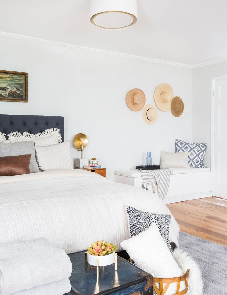 Emily Henderson_Target_Bed Styling_Styling to Sell_White_Blue_Leather_Gray_Guest Bedroom_4