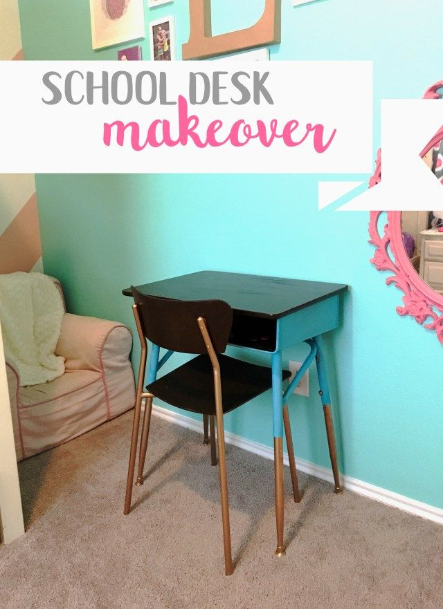 School Desk Makeover – Little Brick Homestead Old school desk spray painted with gel stain top coat