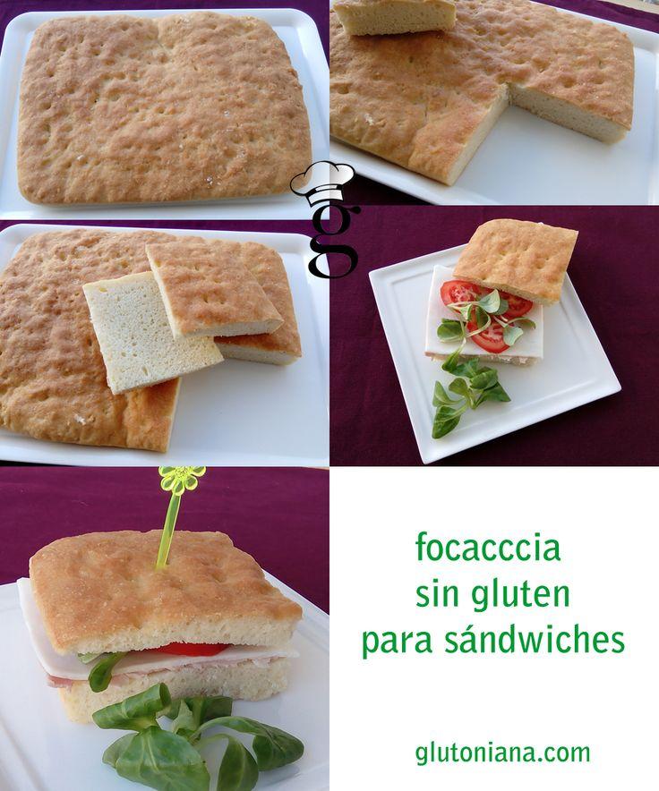 Focaccia para sándwiches. Sin gluten, sin lactosa, sin huevo