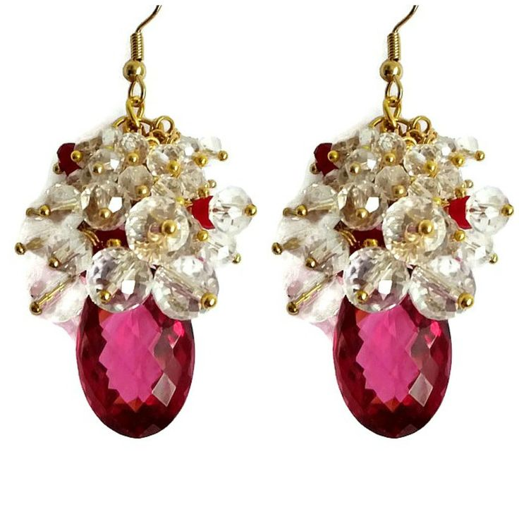 Clear crystals sit atop this chunk of hot pink Quartz like the sparkling frosting on the most delicate cupcake. #earrings #pink earrings #crystal jewelry #crystal earrings #fushia