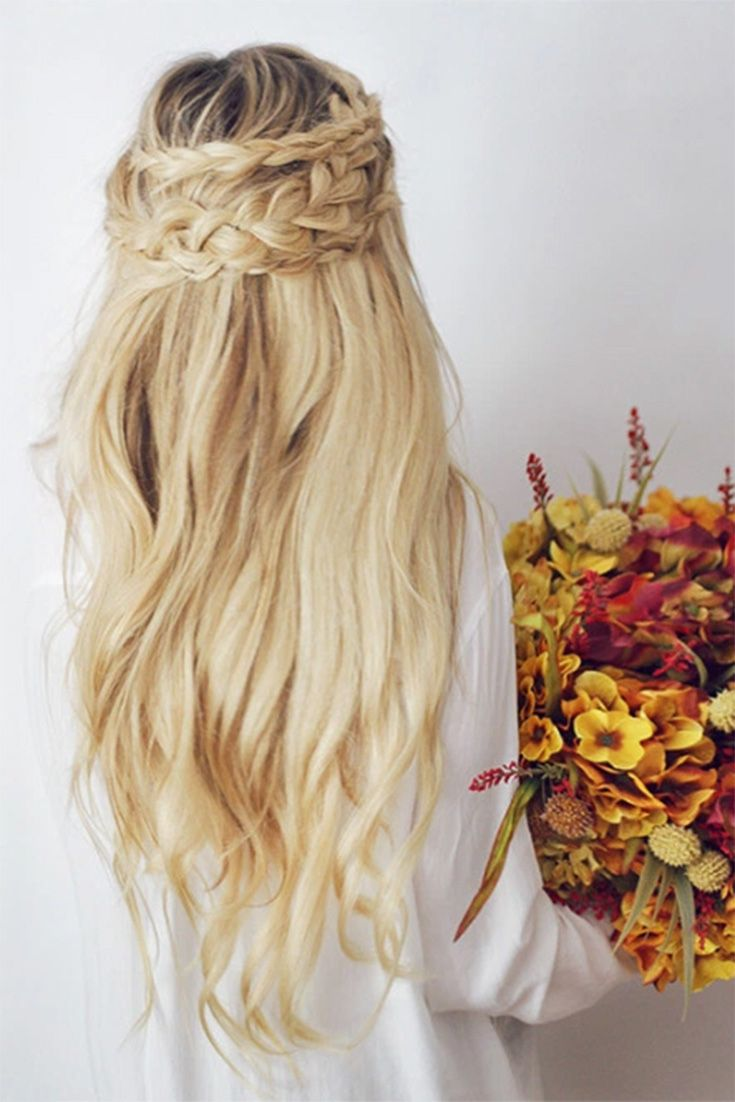 Perfect Fall Hairstyle with Bleach Blonde Luxy Hair extensions on the gorgeous @kassinka! Love this braided half updo.   Photo by: https://instagram.com/p/8ICwMRNyhu/?taken-by=kassinka  #LuxyHairExtensions