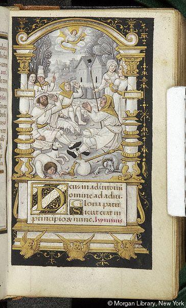 Book of Hours, MS M.632 fol. 57r - France, Paris, ca. 1520 - Shepherds: Annunciation