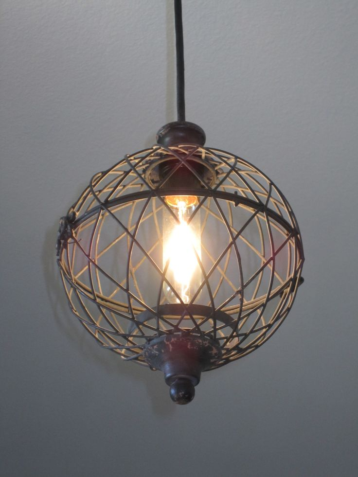 Lower Hallway Rustic Small Metal Globe Pendant Light