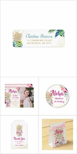 watercolor tropical pineapple floral fun birthday party invites