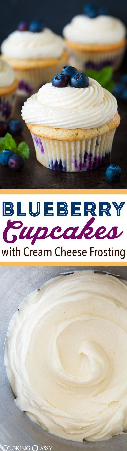 Blueberry Cupcakes with Cream Cheese Frosting - perfect use for fresh summer blueberries! Light and fluffy and amazingly delicious!