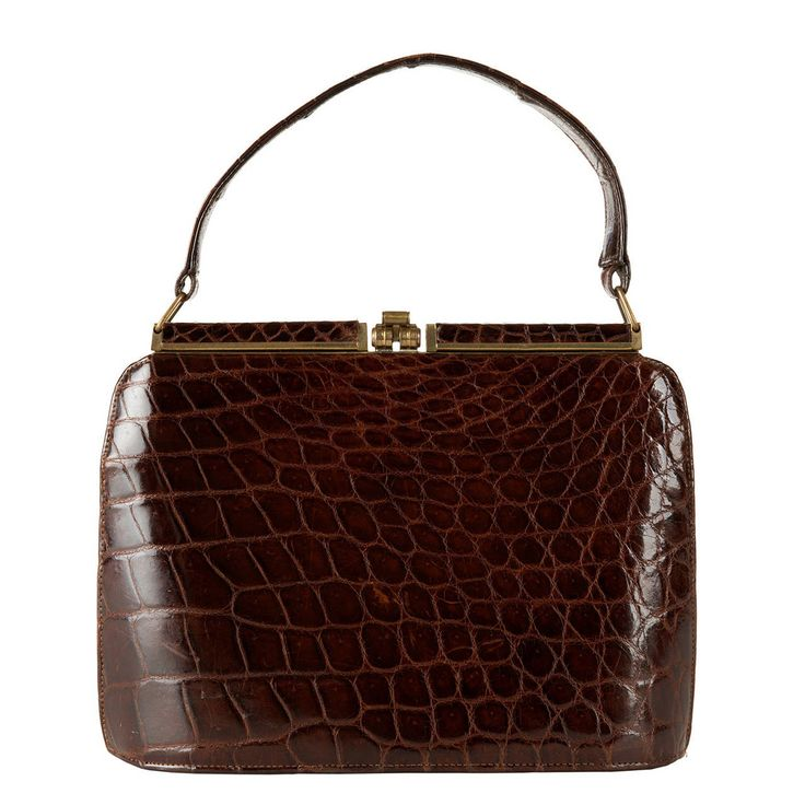 A  Rare Vintage Dark Brown Crocodile Handbag by Aspreys of London | From a collection of rare vintage top handle bags at https://www.1stdibs.com/fashion/handbags-purses-bags/top-handle-bags/