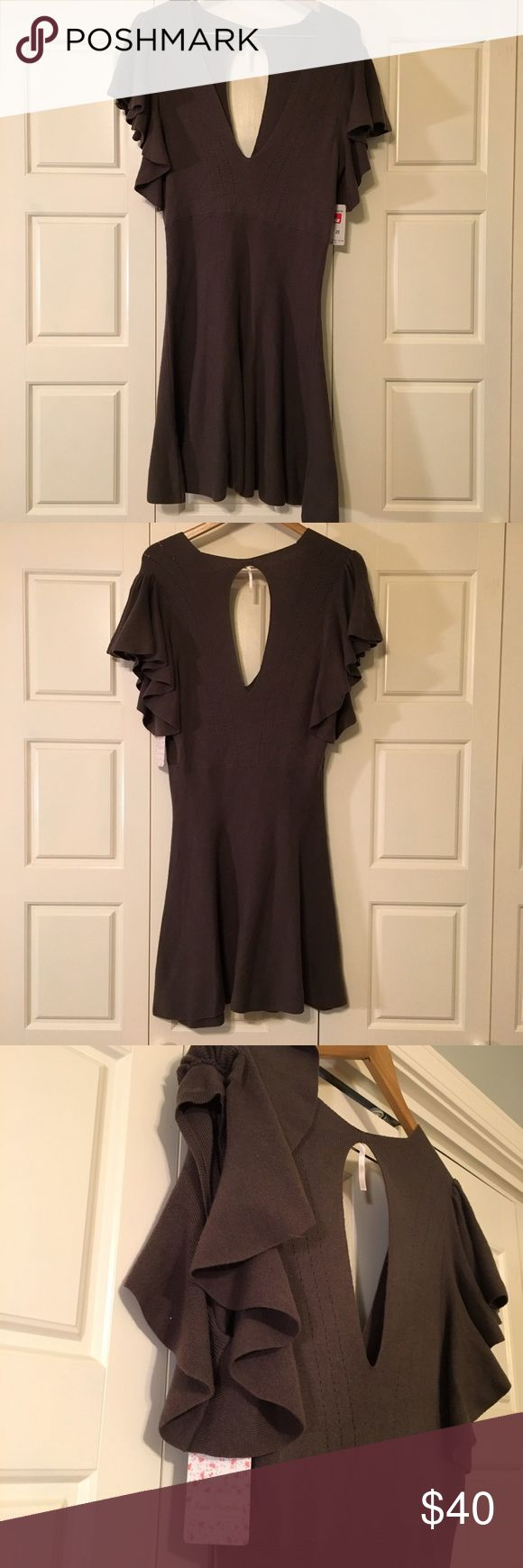 Taupe sweater dress Super soft and versatile neutral mini dress. Lots of stretch. Brand new. Free People Dresses