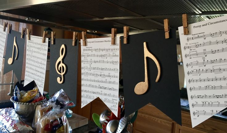 • graduation party ideas • graduation banners • black and gold • music themed party • pomp and circumstance flute sheet music banner •