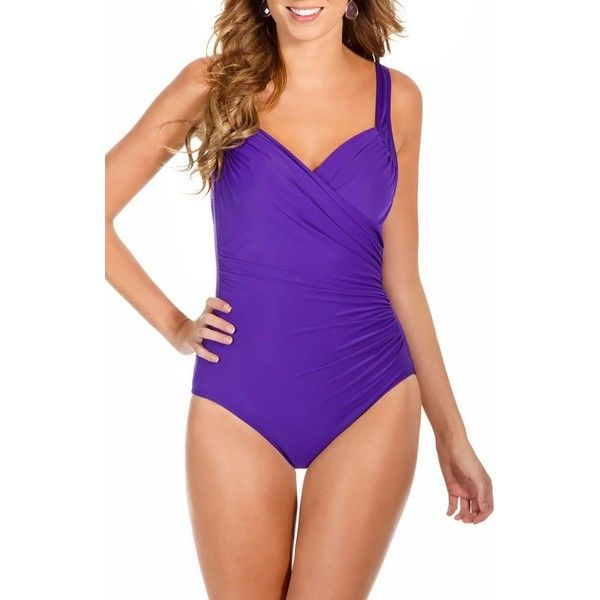 Women's Miraclesuit 'sanibel' Underwire One-Piece Swimsuit ($162) ❤ liked on Polyvore featuring swimwear, one-piece swimsuits, violet purple, purple one piece bathing suit, miraclesuit swimwear, full coverage one piece swimsuit, swim suits and underwire bathing suits
