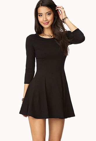 "Skater Dress 32"" approx. length from high point shoulder to hem, 30"" chest, 25"" waist, 18.5"" sleeve length from high point shoulder Measured from Small 95% cotton, 5% spandex Machine wash cold, dry flat Imported"