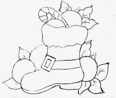 risco de bota com bolas de natal para pintura em tecido