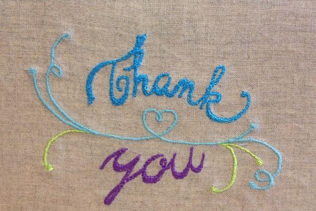 Thank You – Embroidery Thank you cards – a unique product by bonitofracaso on DaWanda @dawanda #embroidery #thank you card