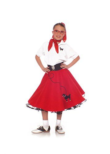 Hip Hop 50s Shop Medium Child Poodle Skirt - Size 7/8/9 Red Buy New: $31.99