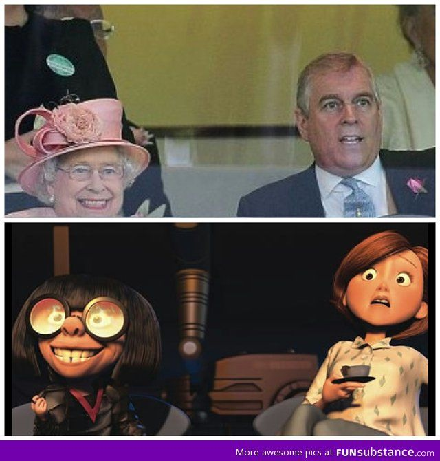 The queen's horse winning kinda looks like edna from The Incredibles