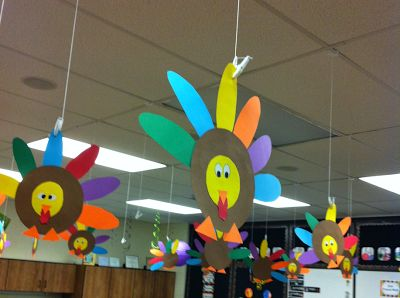 Thanksgiving Project Time! Let the Fun Begin! This little guy is one of my favorites because it's an easy to prep and colorful classroom decoration for the month. Last year, I hung our turkeys from the ceiling clips.                                                                                                                                                                                 More
