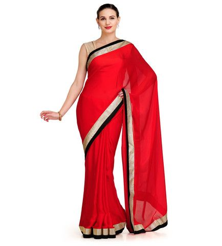 Red Satin Saree with Art Silk Border | Fabroop