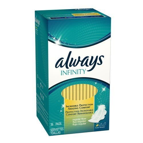 Always Infinity Regular Flow With Wings, Unscented Pads 36 Count (Pack of 2) by Always. $13.94. Manufacturer Product Description      The world's first pad of its kind, Always Infinity offers women powerful absorbency like never before. It's made with an über-absorbent material called Infinicel™ that has the power to absorb 10 times its weight, yet remains unbelievably light. With dual wing design that fits the curvature of your panty, Microdots™ designed for s...