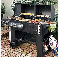 "The best of both ""grilling"" worlds: Hybrid Propane Gas and Charcoal Grill.  #UltimateTailgate #Fanatics: Hybrid Grill, Charcoal Cooking, Cooking System, Outdoor, Grill Infrared, Grilling, Propane Gas"