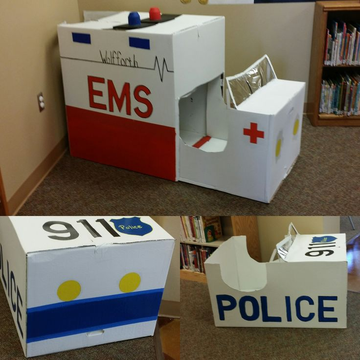 At the Wolfforth Public Library, boxes were used to create an ambulance and a police car to go along with this summer's theme, Every Hero Has A Story.