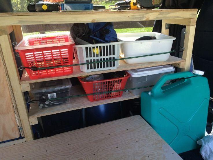 I contenitori tenuti in posto sullo scaffale utilizzando cavi di Bungie