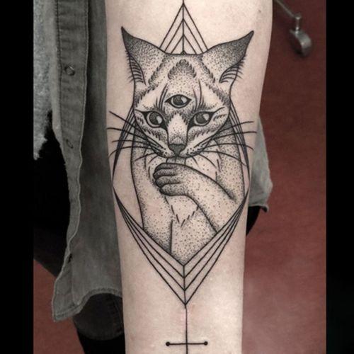 CAT Tattoo Sticker Waterproof Temporary Tattoo Use for Arm Leg 21x15cm