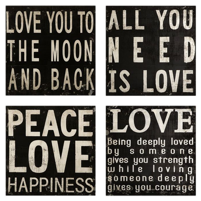 4 Piece Love Quotes Wall Sign Set