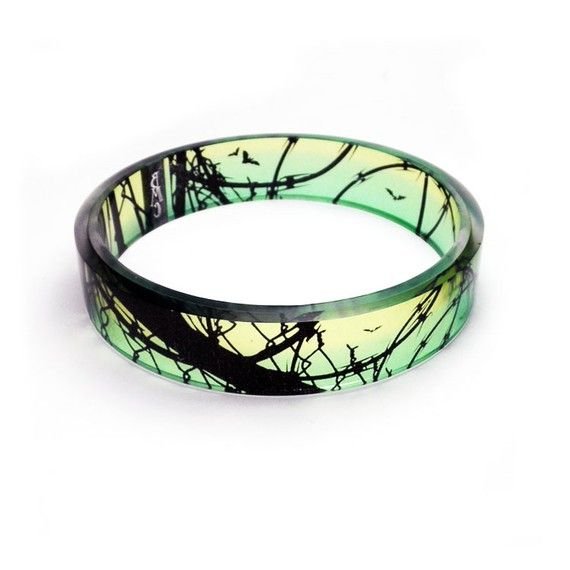 Bangle bracelet  resinBarbed Wire Bats Resin Bangle by BuyMyCrap, $34.00