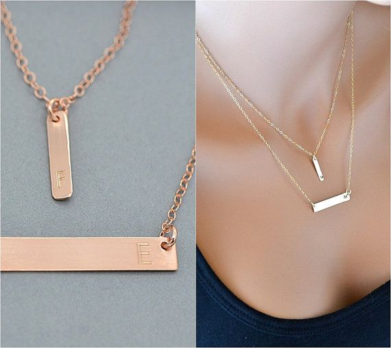 Rose gold bar necklace layered necklace initial necklace for Rose gold personalized jewelry