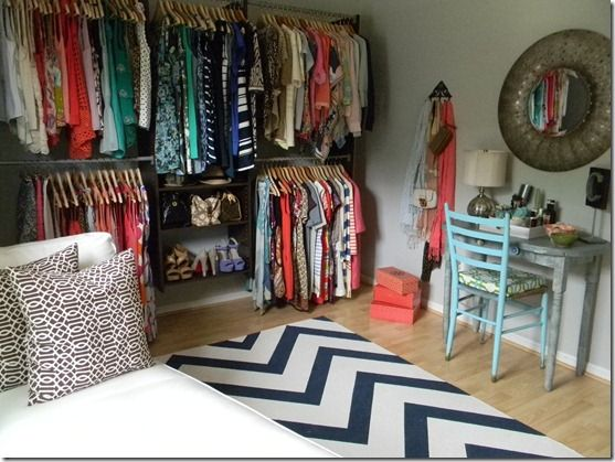 closet from nowhere: closet system $160 (martha stewart living), chaise $300 ikea, hand paint the chevron on a rug. vanity and chair (goodwill). Mirror: $80 Marshalls. (also try HomeGoods, TJ Maxx, Ikea, or make one.