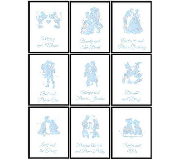 Disney wedding table numbers Set of 9 prints Cinderella Belle