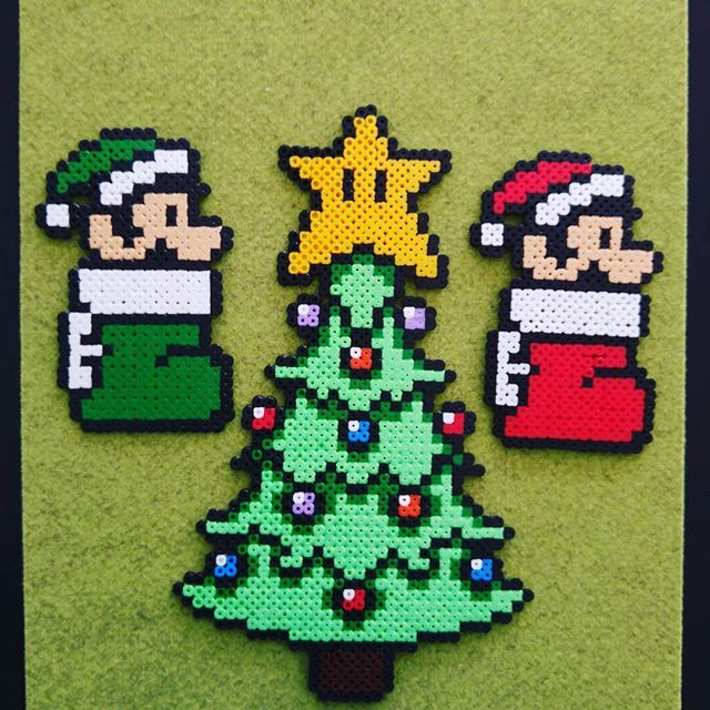 Christmas Mario perler beads by  super_likes