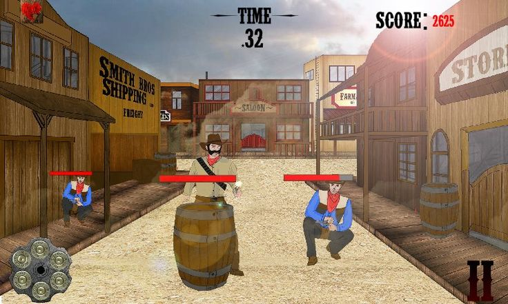 Tapshot! - Wild West Shooter for iPhone, Android and Windows Phone 8 - 2012>Present | Adobe Flash, Unity3D, Photoshop. https://www.facebook.com/gamesyne