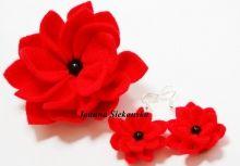 czerwony kwiat broszka i kolczyki