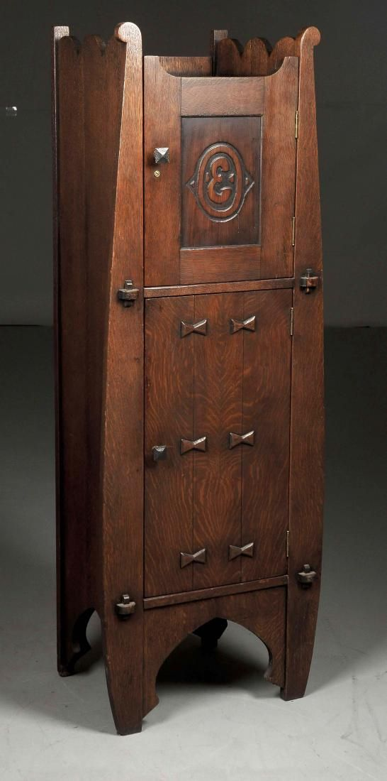 Arts & Crafts Liquor Cabinet with Applied Butterfly : Lot 0013