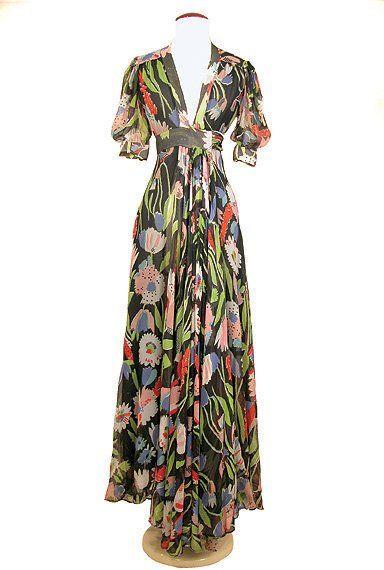 Ossie Clark Chiffon Crepe Tulip Print Dress English, circa 1973 fashion style vintage 70s designer floral long gown maxi dress black red green yellow 30s