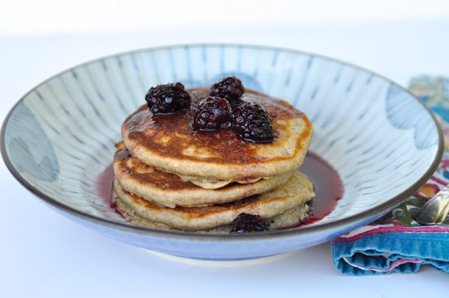 Whole Grain cornmeal pancakes with blackberry syrup
