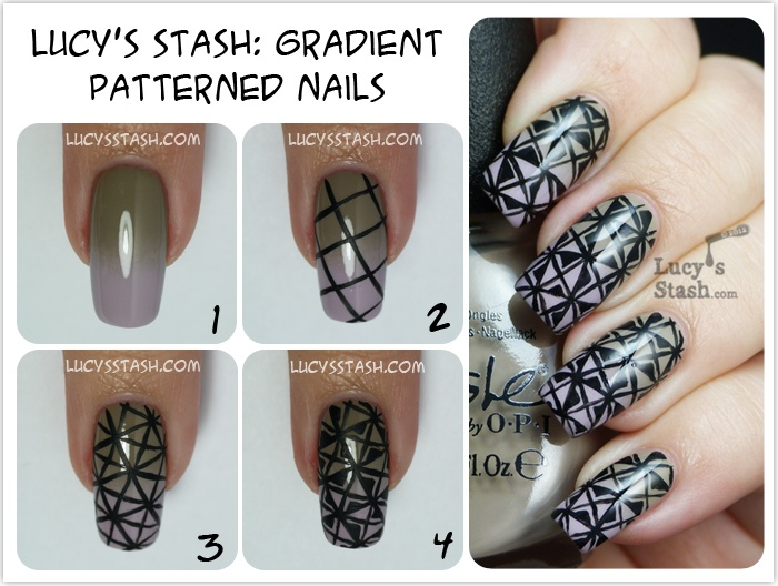 Lucys Stash - Patterned gradient nails tutorial