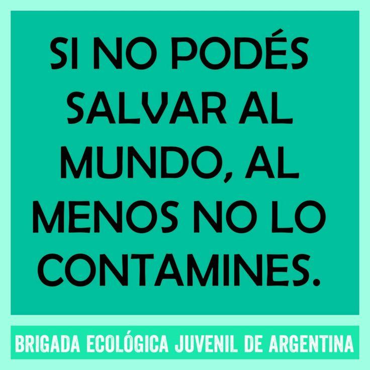 """""""Si no podés salvar al mundo, al menos no lo contamines"""" Brigada Ecológica Juvenil de Argentina"""