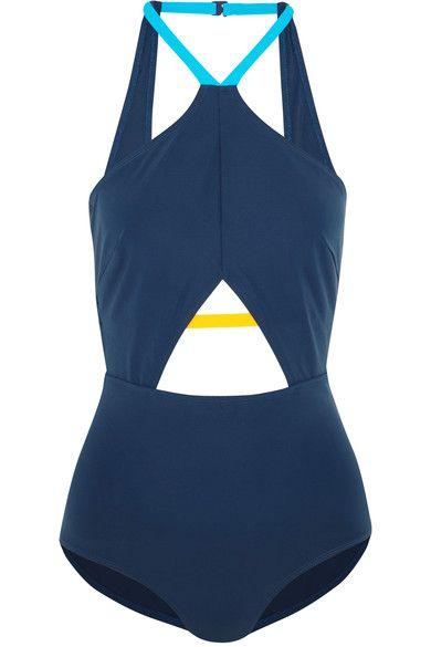 Flagpole - Warren Cutout Color-block Halterneck Swimsuit - Storm blue - x small