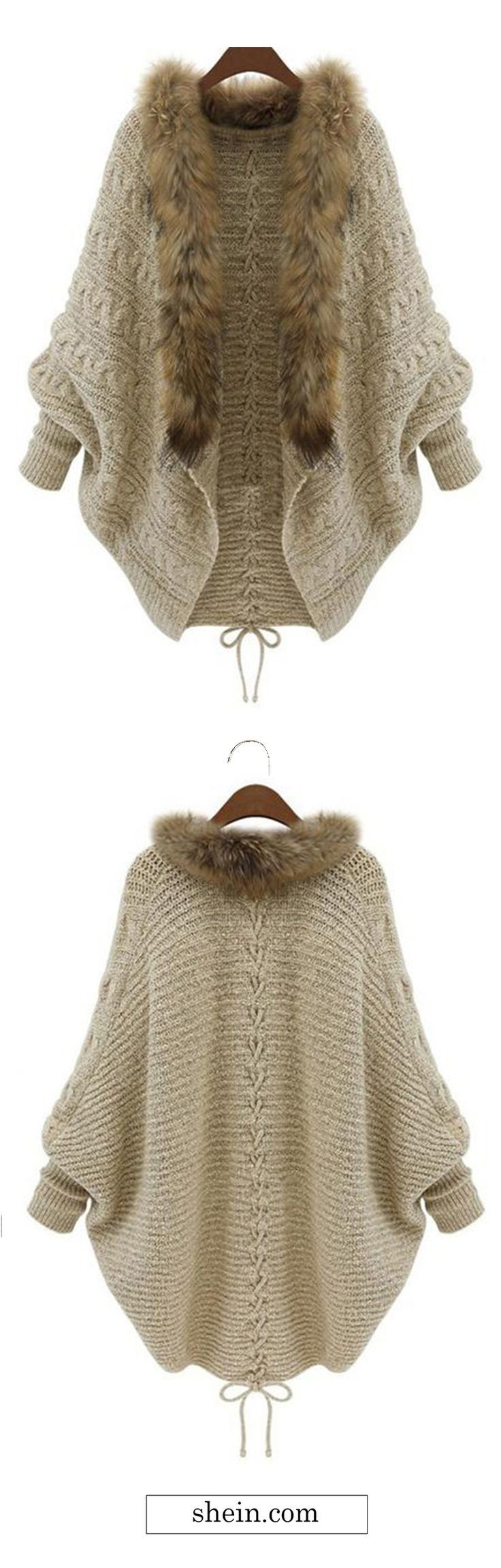 95 best how to crochet a sweater images on pinterest tunics faux fur collar coat sweater cardigan add some faux fur to the ends of your bankloansurffo Images