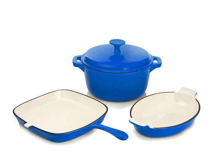 Rystel Four Piece Cast Iron Enamel Cookware Pot Set – Restful Spaces