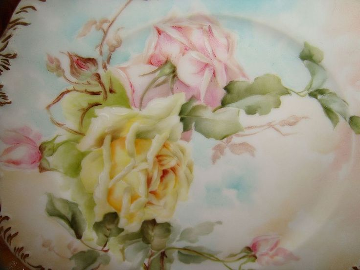 A Pair of T&V Limoges France Plates - Hand Painted Roses - Artist Signed